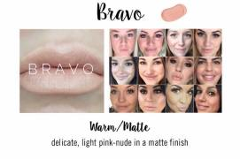 MATTE GLOSS ON LEFT PHOTO - ON MOST SKIN TONES, BRAVO HAS MORE OF A PINK UNDERTONE TO IT AND LOOKS LESS WHITE