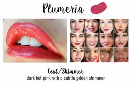 PLUMERIA IS A VERY DARK PINK THAT LEANS MORE TOWARD THE RED SIDE